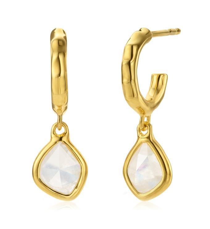 Gold Vermeil Siren Mini Nugget Hoop Earrings - Moonstone - Monica Vinader
