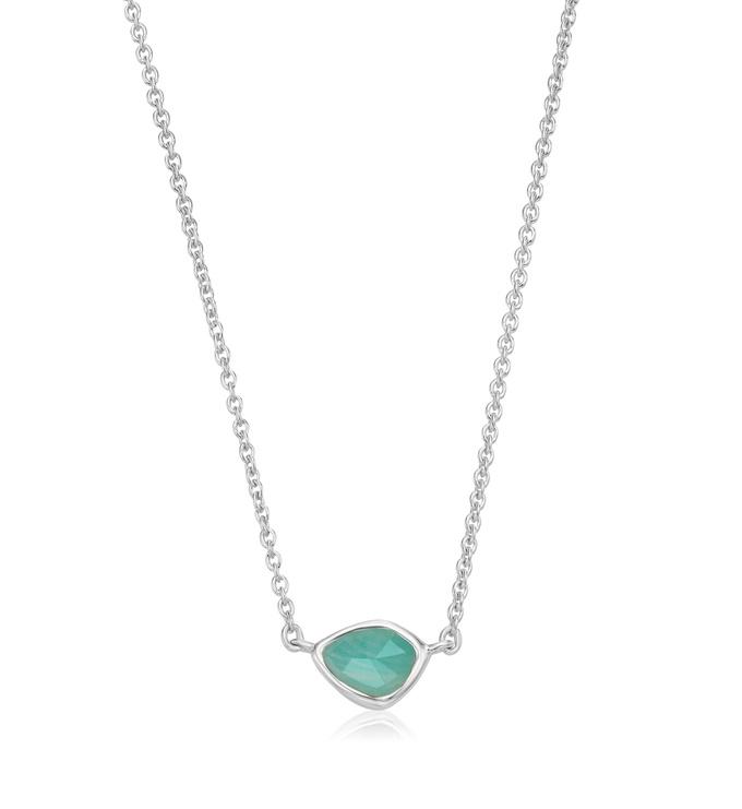 Sterling Silver Siren Mini Nugget Necklace - Amazonite - Monica Vinader