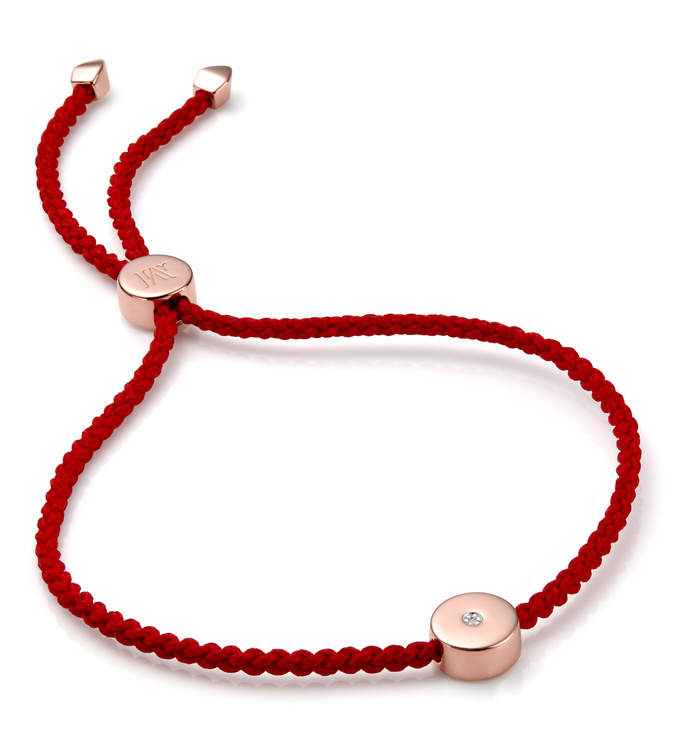 Rose Gold Vermeil Linear Solo Friendship Diamond Bracelet - Diamond - Monica Vinader