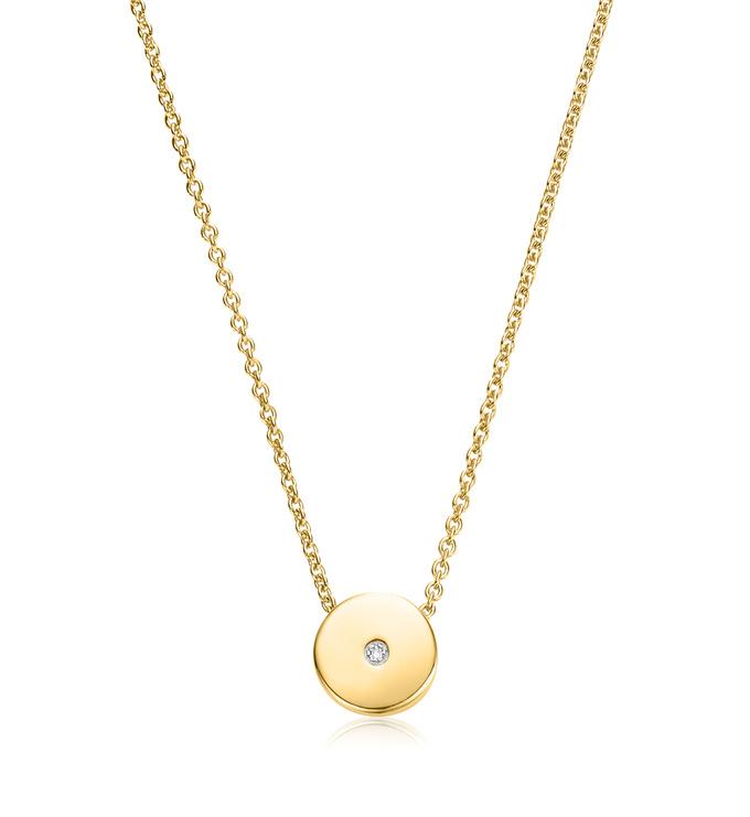 Gold Vermeil Linear Solo Diamond Necklace - Diamond - Monica Vinader