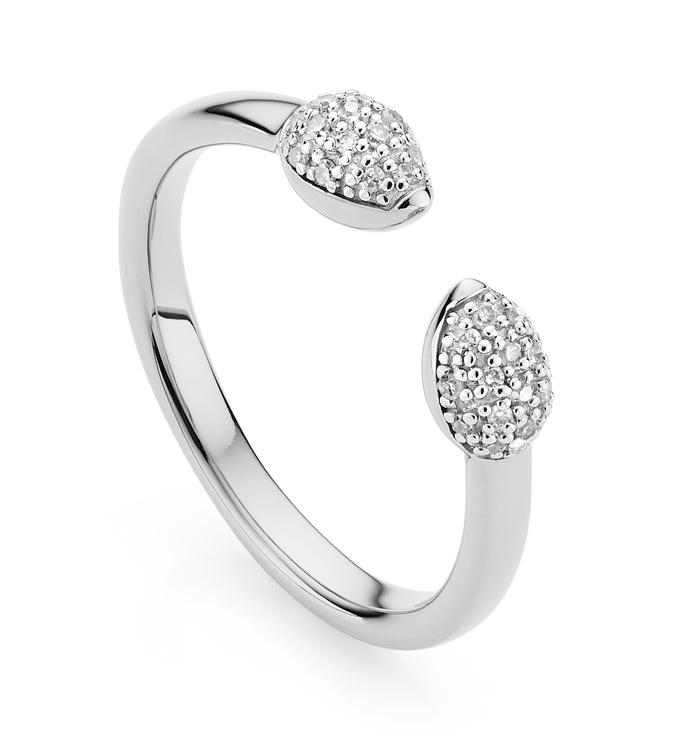 Sterling Silver Fiji Bud Stacking Diamond Ring - Diamond - Monica Vinader
