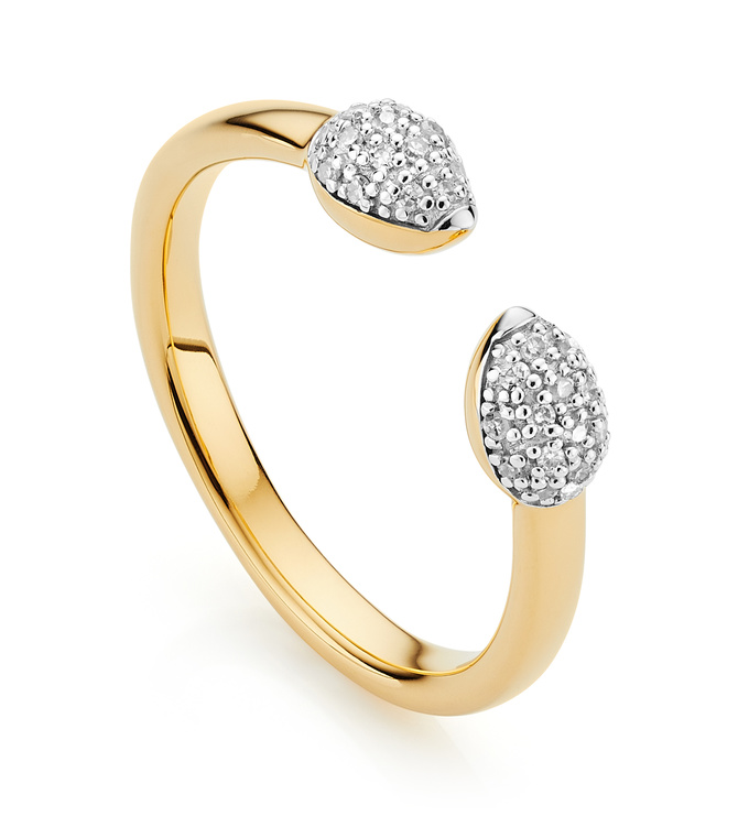 Gold Vermeil Fiji Bud Stacking Diamond Ring - Diamond - Monica Vinader
