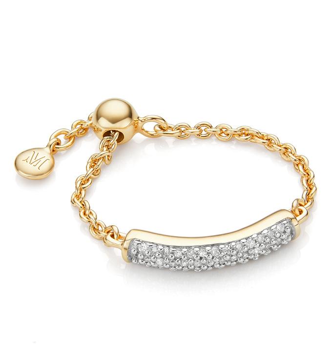 Gold Vermeil Fiji Bar Adjustable Friendship Diamond Ring - Diamond - Monica Vinader