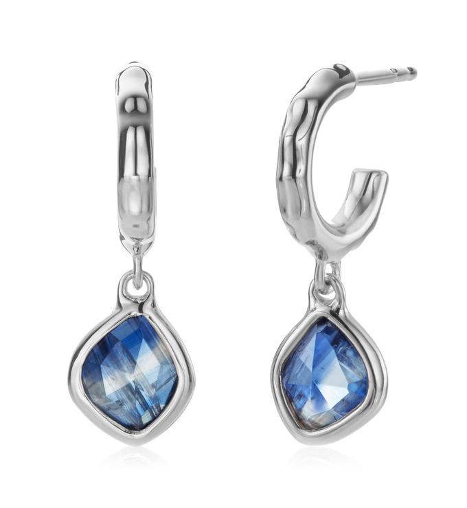 Sterling Silver Siren Mini Nugget Hoop Earrings - Kyanite - Monica Vinader
