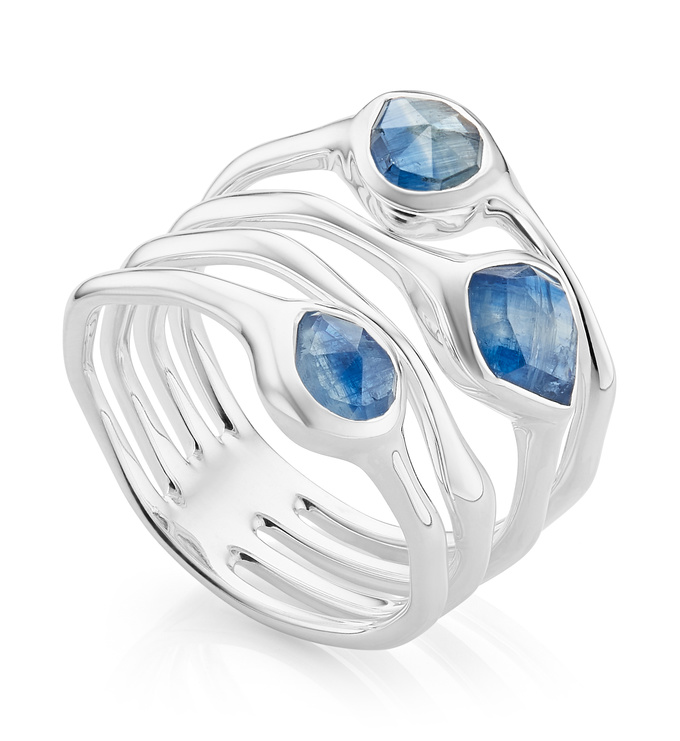 Sterling Silver Siren Cluster Cocktail Ring - Kyanite - Monica Vinader