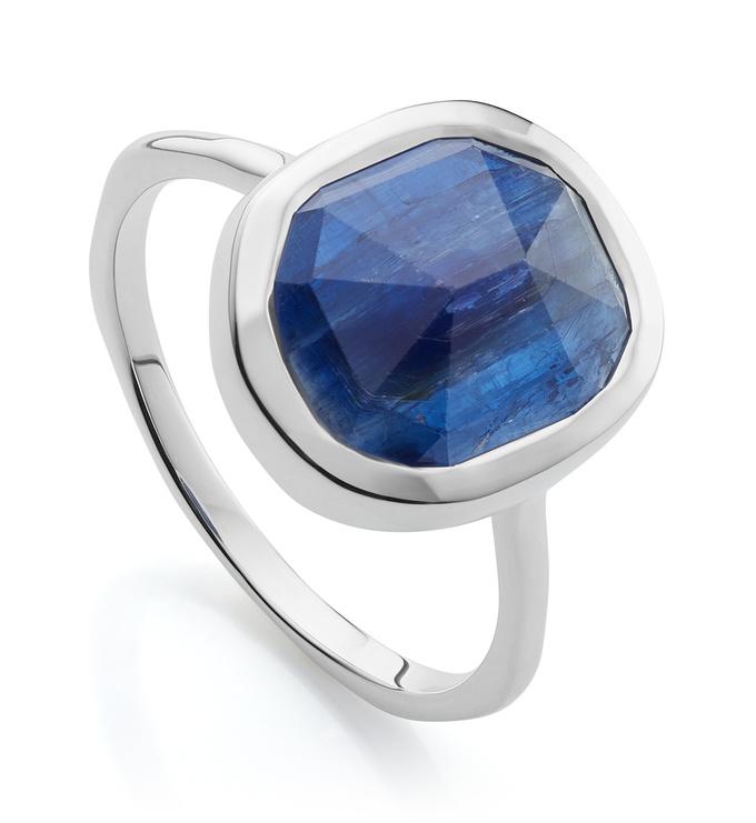 Sterling Silver Siren Medium Stacking Ring - Kyanite - Monica Vinader