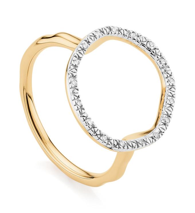 Gold Vermeil Riva Circle Diamond Ring - Diamond - Monica Vinader