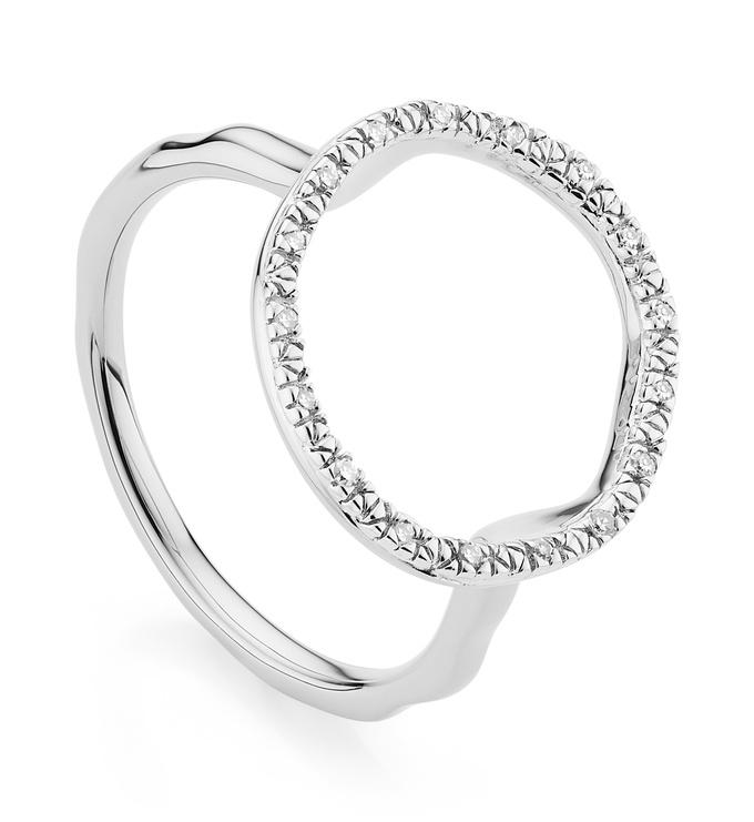 Sterling Silver Riva Circle Diamond Ring - Diamond - Monica Vinader
