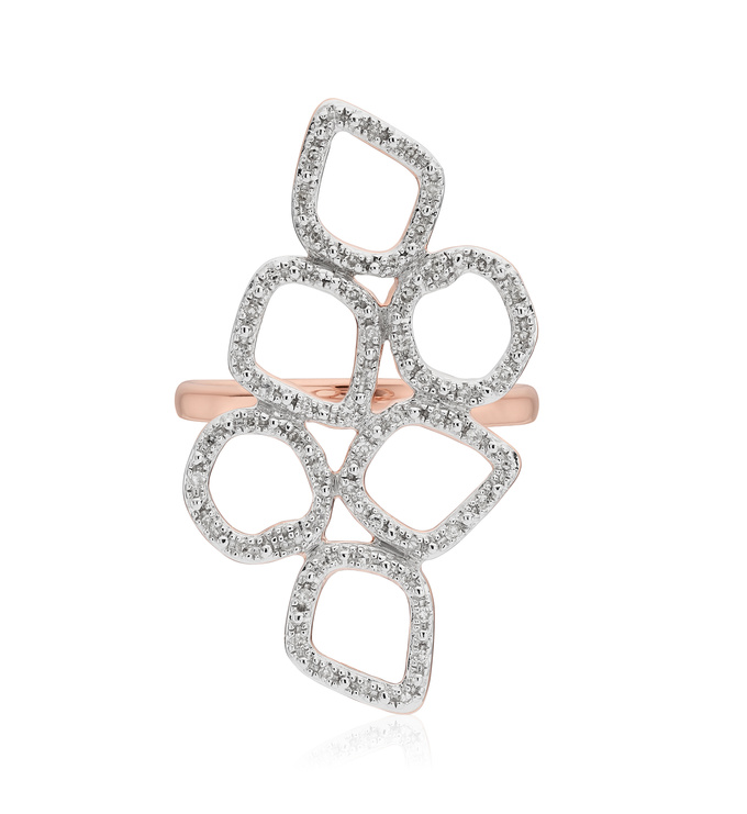 Rose Gold Vermeil Riva Mini Cluster Cocktail Diamond Ring - Diamond - Monica Vinader
