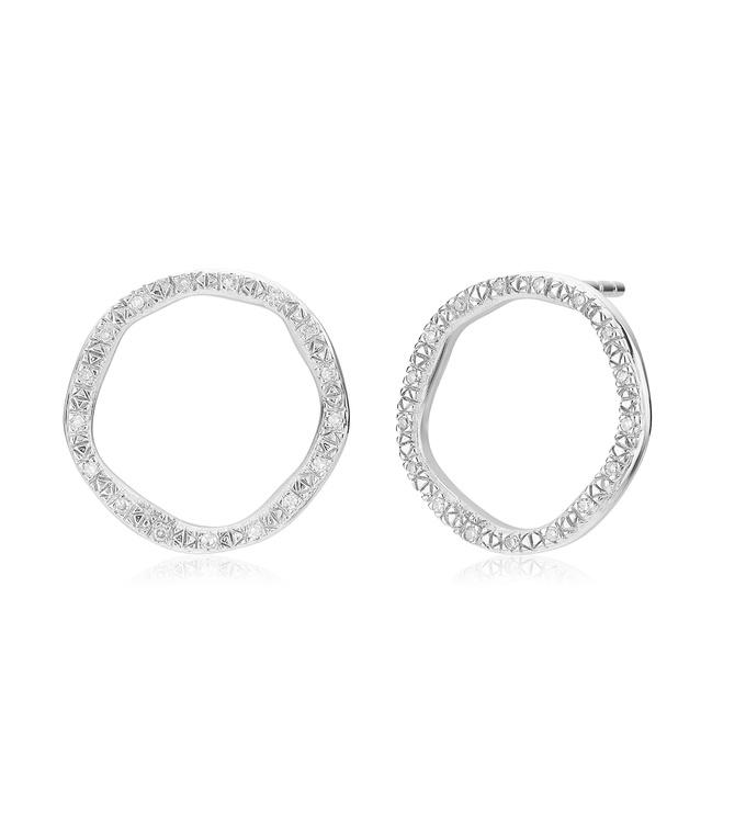 Sterling Silver Riva Large Circle Stud Diamond Earrings - Diamond - Monica Vinader