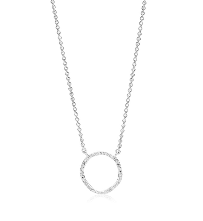 Sterling Silver Riva Circle Diamond Necklace - Diamond - Monica Vinader