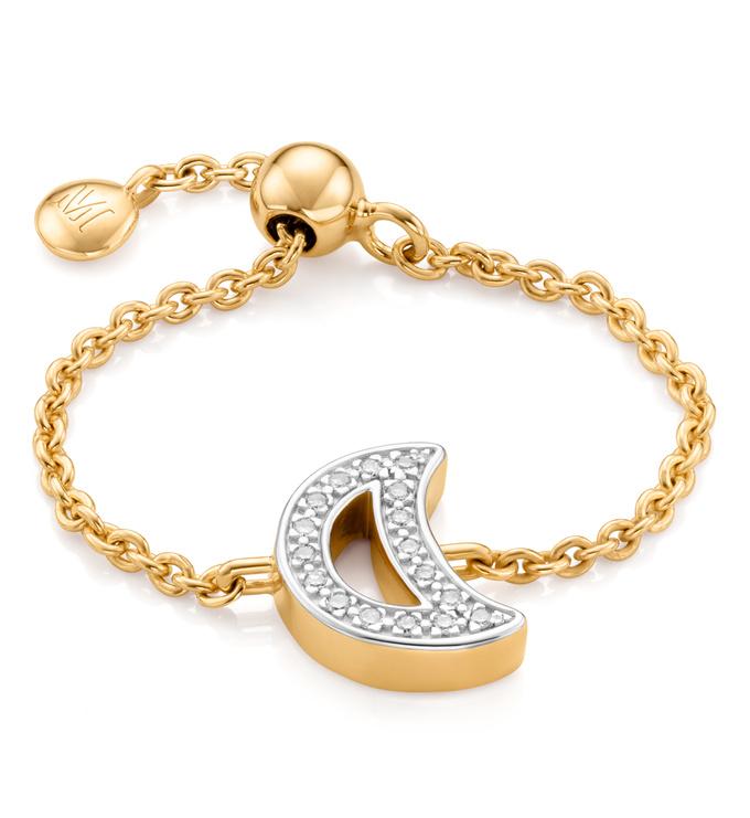 Gold Vermeil Alphabet Moon Adjustable Friendship Diamond Ring - Diamond - Monica Vinader
