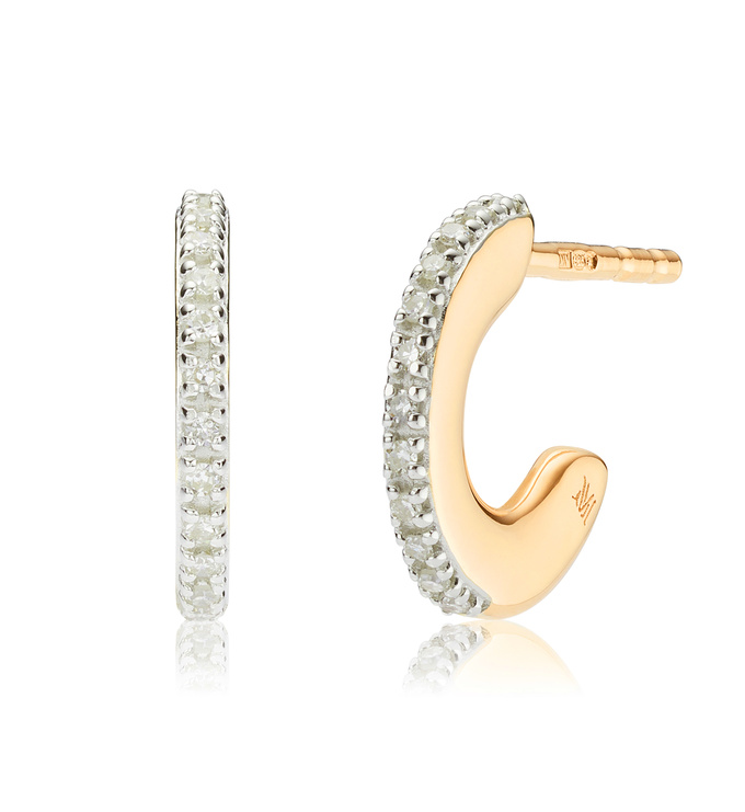 Gold Vermeil Fiji Small Skinny Hoop Diamond Earrings - Diamond - Monica Vinader
