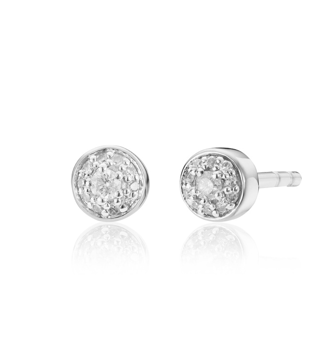 Sterling Silver Fiji Tiny Button Diamond Stud Earrings - Diamond - Monica Vinader