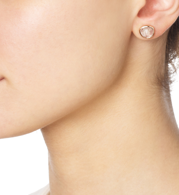 Woman wearing Rose Gold Vermeil Siren Stud Earrings - Rose Quartz