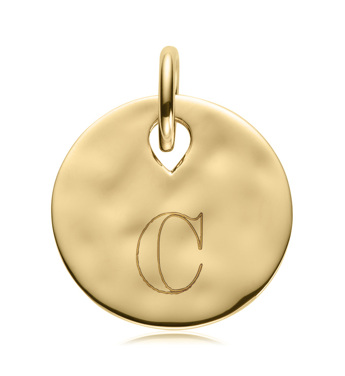 Gold Ziggy Round Pendant Charm with Engraving