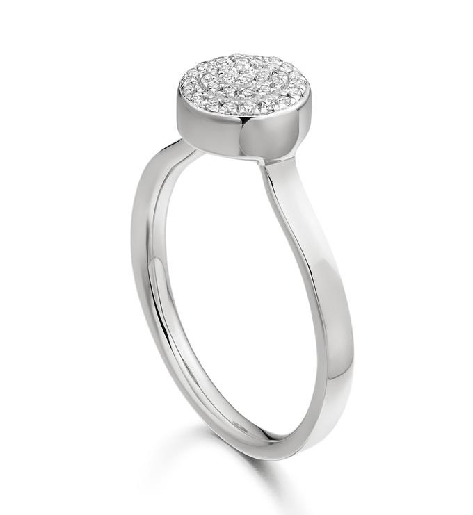 Ava Button Ring - Diamond Two