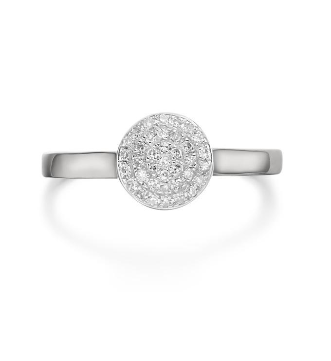 Ava Button Ring - Diamond Three