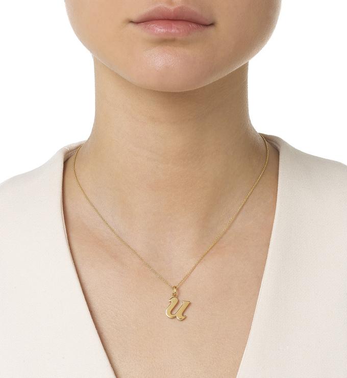 Gold Vermeil Alphabet Pendant U Model