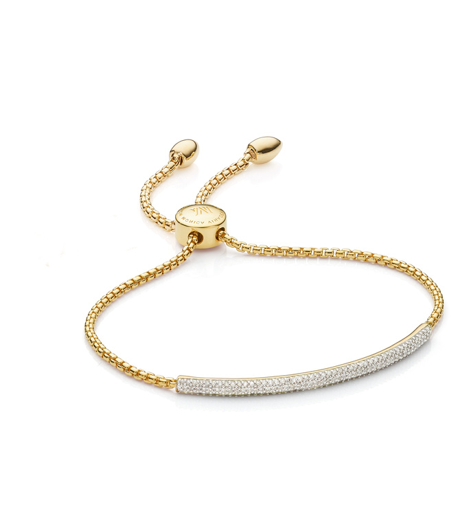Gold Vermeil Fiji Diamond Mini Bar Bracelet - Diamond - Monica Vinader