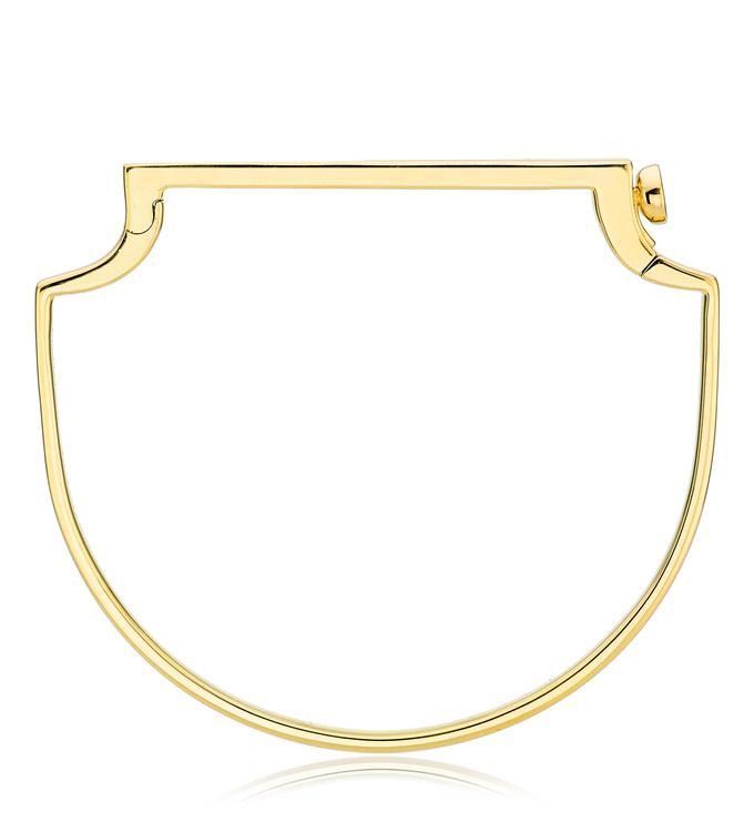 Gold Vermeil Signature Thin Bangle - Diamond side