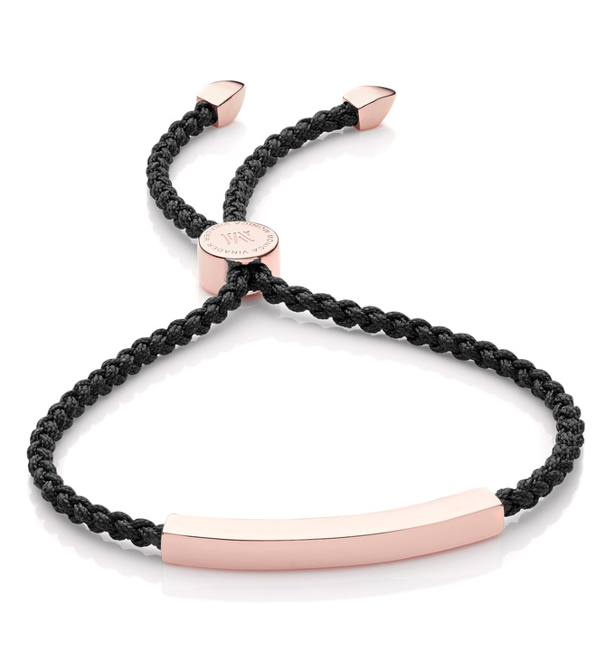 Rose Gold Vermeil Linear Friendship Bracelet - Black Cord