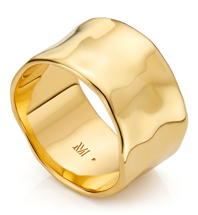 Gold Vermeil Siren Muse Wide Ring - Monica Vinader