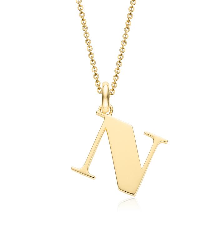 Gold Vermeil Alphabet Pendant N Chain