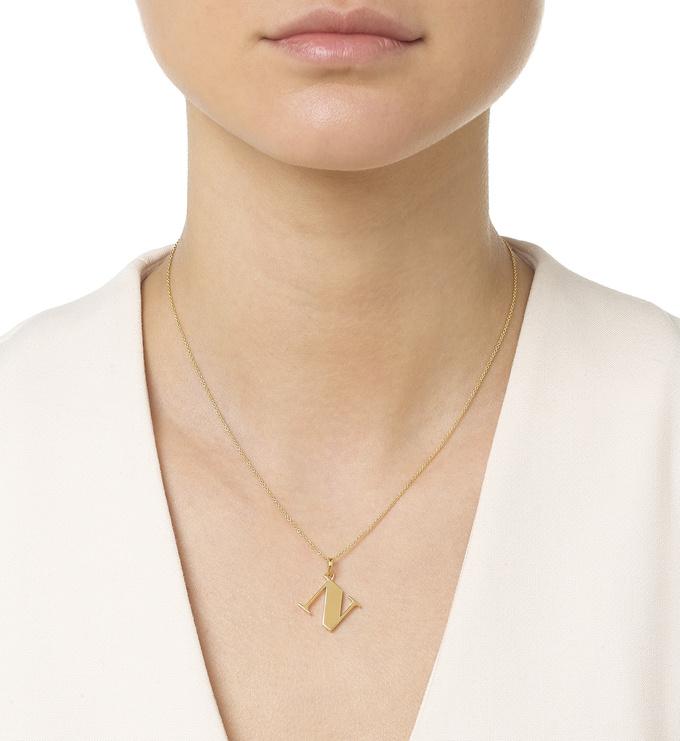 Gold Vermeil Alphabet Pendant N Model