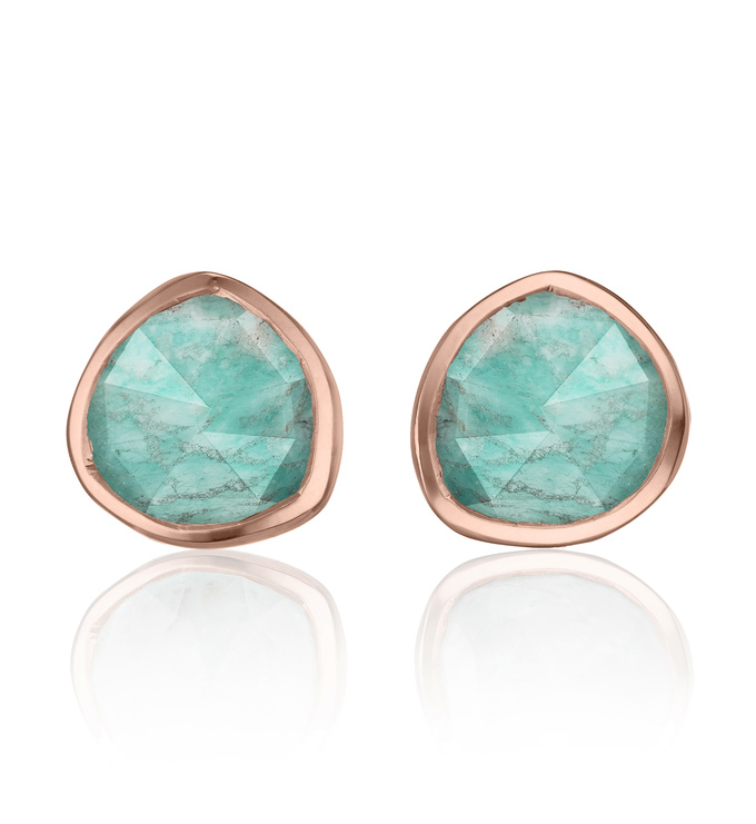Rose Gold Vermeil Siren Stud Earrings - Amazonite