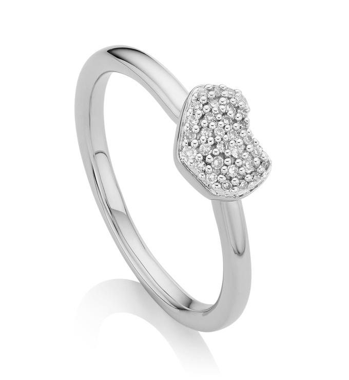 Sterling Silver Nura Mini Heart Ring - Diamond - Monica Vinader