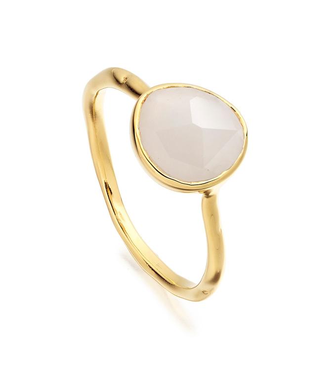 Gold Vermeil Siren Stacking Ring - Moonstone - Monica Vinader