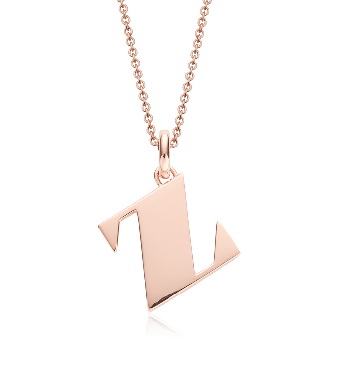 Rose Gold Vermeil Alphabet Pendant Z Chain