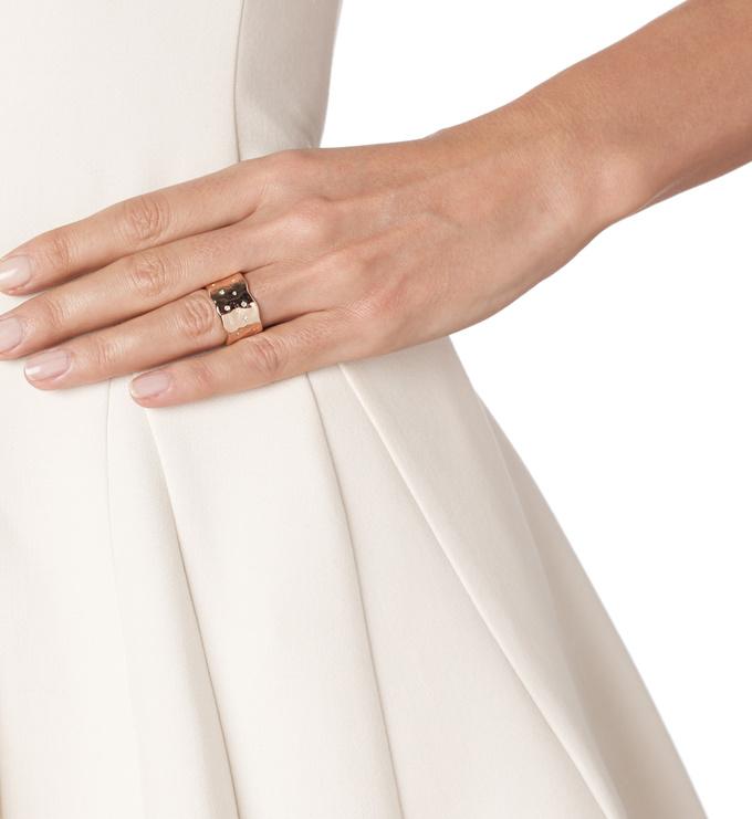 Rose Gold Vermeil Siren Scatter Wide Band Ring - White Topaz model