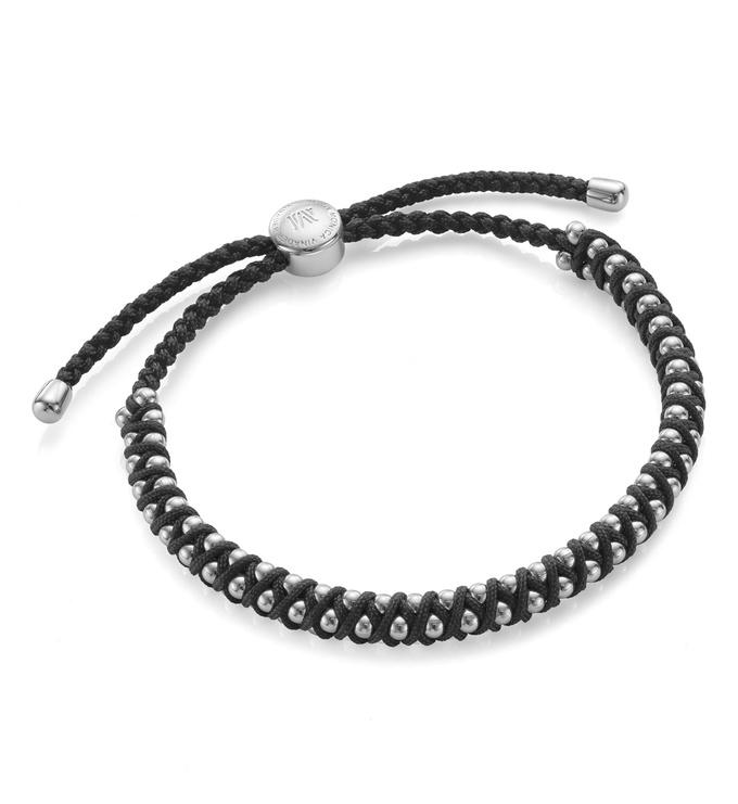 Sterling Silver Rio Friendship Bracelet - Black - Energy - Monica Vinader