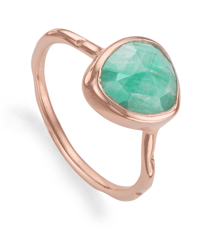Rose Gold Vermeil Siren Stacking Ring - Amazonite