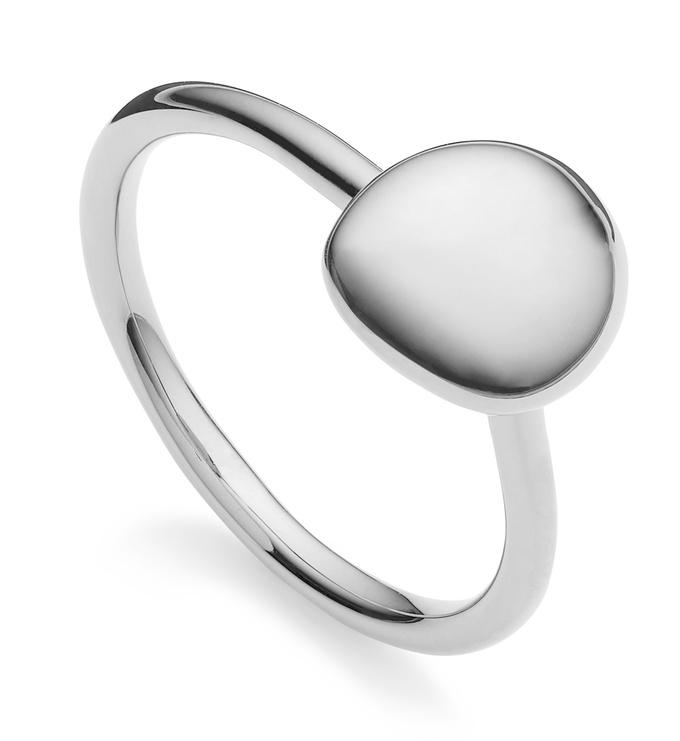 Sterling Silver Nura Small Pebble Stacking Ring - Monica Vinader
