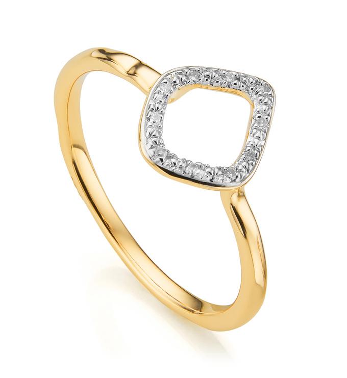Gold Vermeil Riva Mini Kite Stacking Ring - Diamond - Monica Vinader
