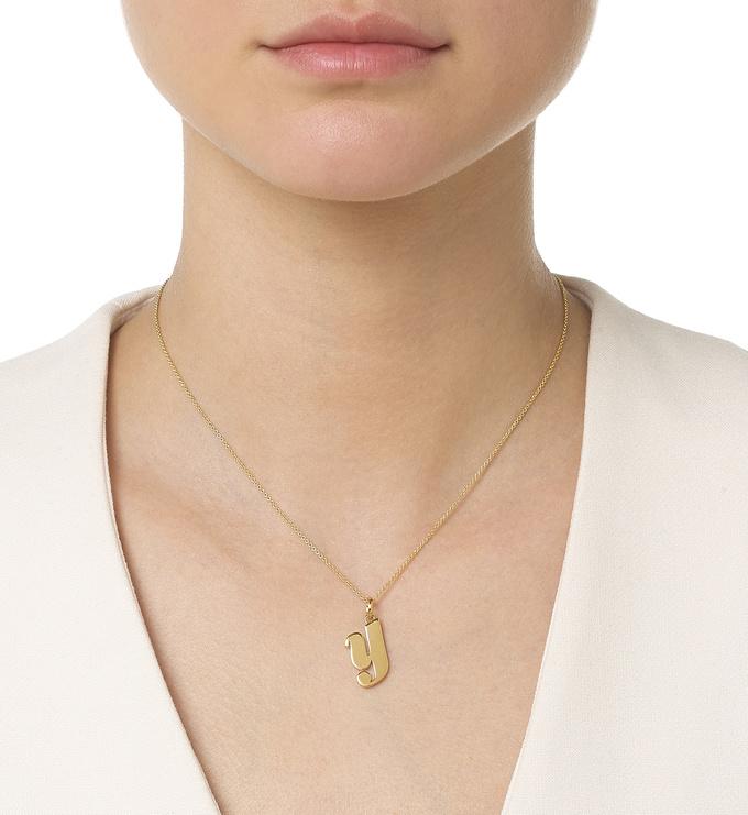 Gold Vermeil Alphabet Pendant Y Model