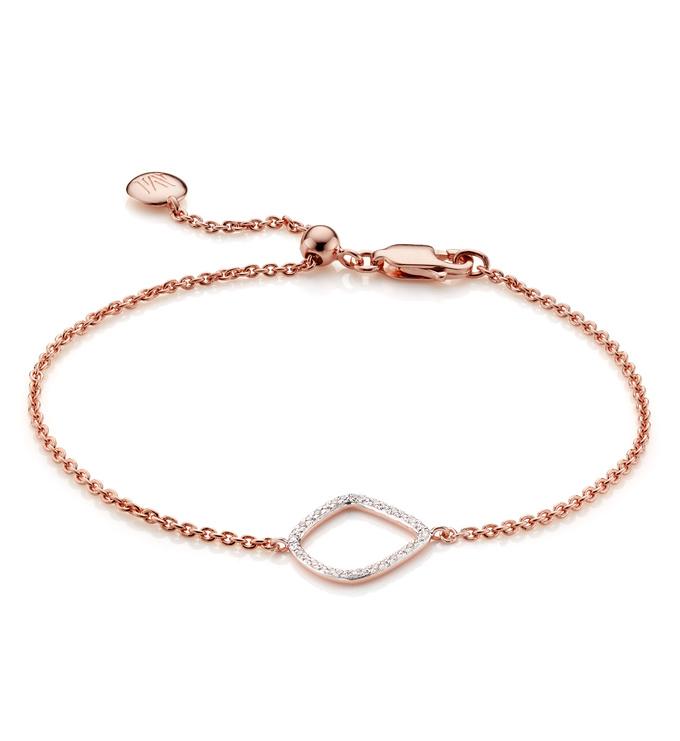 Rose Gold Vermeil Riva Diamond Kite Chain Bracelet - Diamond - Monica Vinader