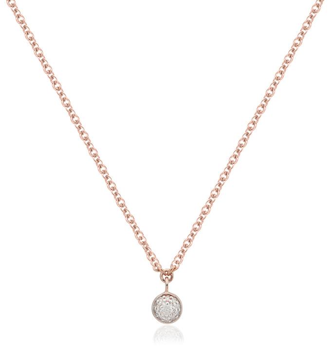 Rose Gold Vermeil Fiji Tiny Button Single Drop Diamond Necklace - Diamond - Monica Vinader
