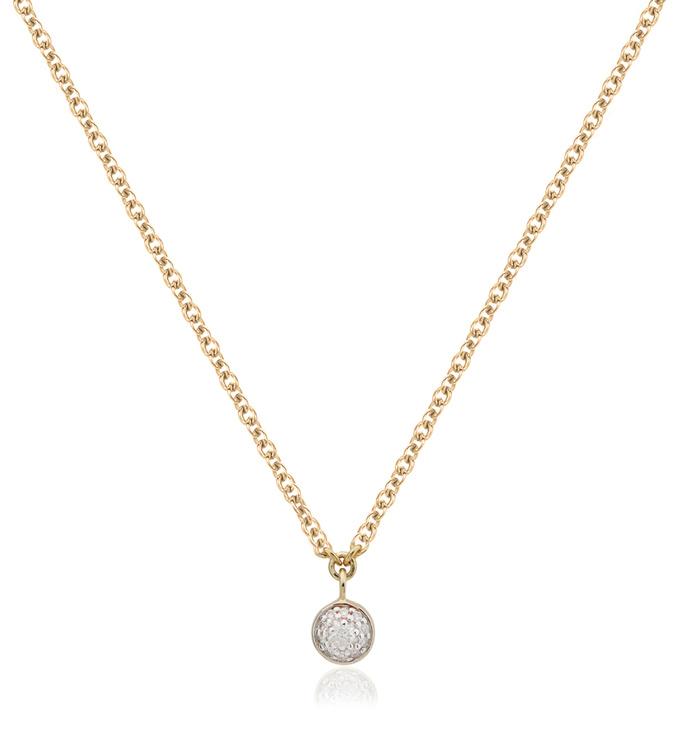 Gold Vermeil Fiji Tiny Button Single Drop Diamond Necklace - Diamond - Monica Vinader