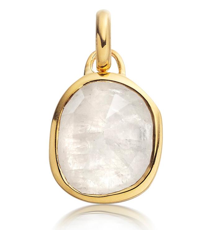 Gold Vermeil Siren Medium Bezel Pendant Charm - Moonstone - Monica Vinader