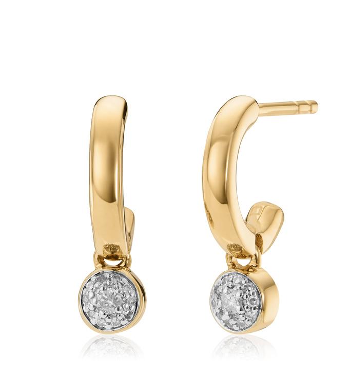 Gold Vermeil Fiji Tiny Button Diamond Huggie Earrings - Diamond - Monica Vinader