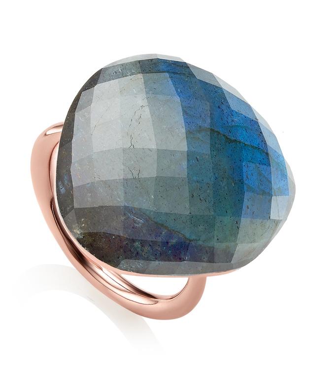 Rose Gold Vermeil Nura Large Pebble Ring - LIMITED EDITION - Labradorite - Monica Vinader