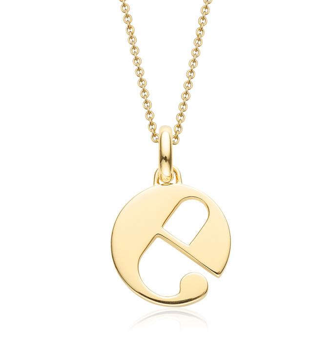 Gold Vermeil Alphabet Pendant E Chain