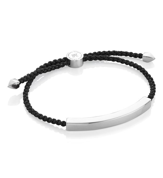 Sterling Silver Linear Large Men's Friendship Bracelet - Black - Monica Vinader