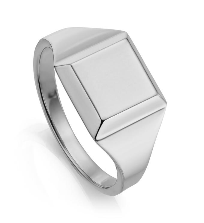 Sterling Silver Signature Signet Ring - Monica Vinader