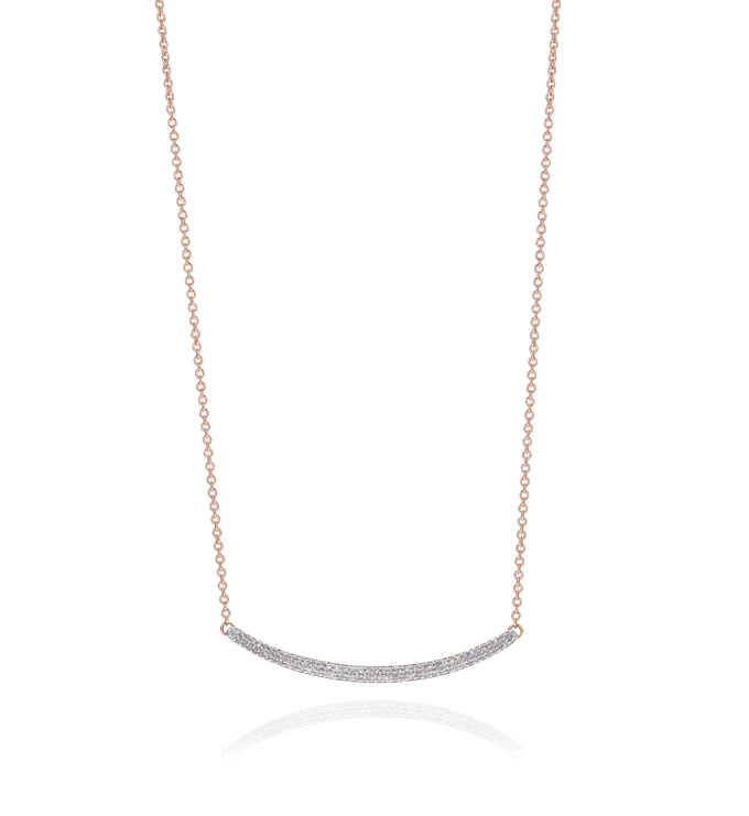 Rose Gold Vermeil Skinny Curve Necklace - Diamond - Monica Vinader