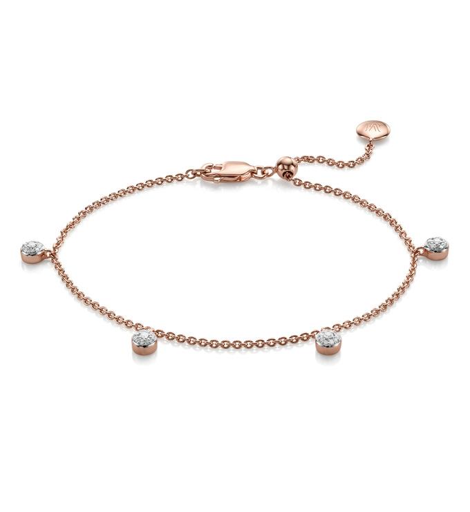 Rose Gold Vermeil Fiji Tiny Button Diamond Bracelet - Diamond - Monica Vinader